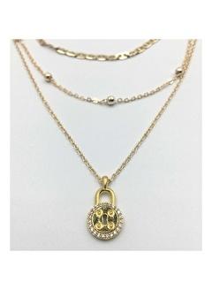 Happy Accessories Kadın Altın Zincir Seti Çoklu Kilit Detaylı Kolye